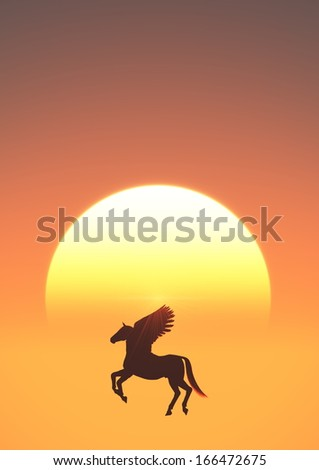 sun rise and pegasus   - stock photo