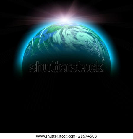 sun rise and planet illustration isolated on black - stock photo