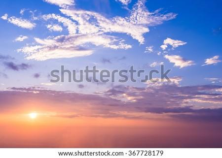 Sun rise and sun set background - stock photo