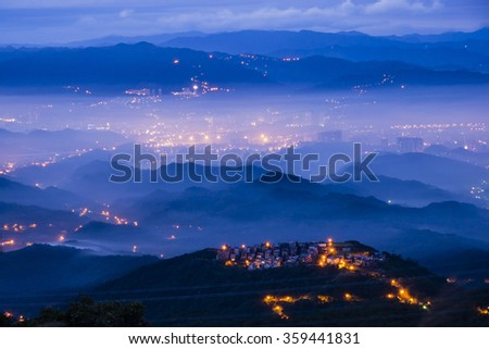 Sun rise at five finger mountain of Taipei, Taiwan - stock photo