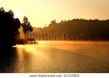 Sun rise at Pangung , Thailand - stock photo