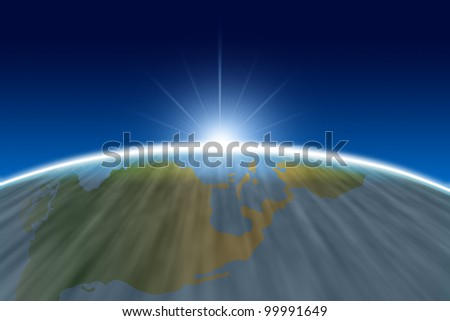 Sun rise edge of world from space simulation. - stock photo