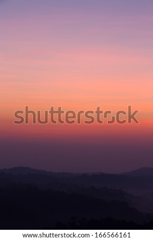 Sun Rise Sky and Mountain - stock photo