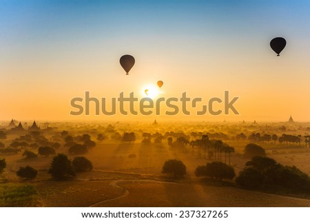 Sun rises in Bagan, Myanmar - stock photo