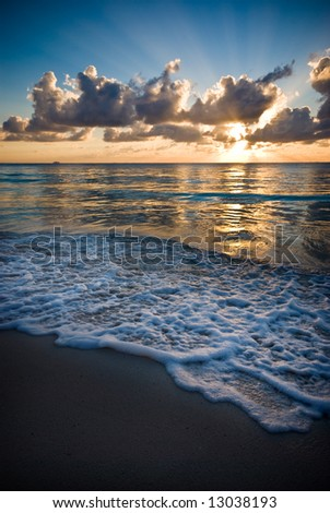 Sun rises in the Mexican Caribbean in a tranquil morning