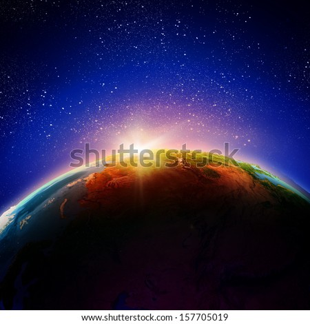 Sun rising above Earth planet. Conceptual photo. Elements of this image are furnished by NASA - stock photo