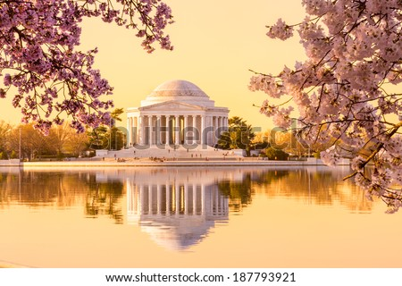 Sun rising illuminates the Jefferson Memorial and Tidal Basin with bright pink cherry blossoms framing the monument - stock photo