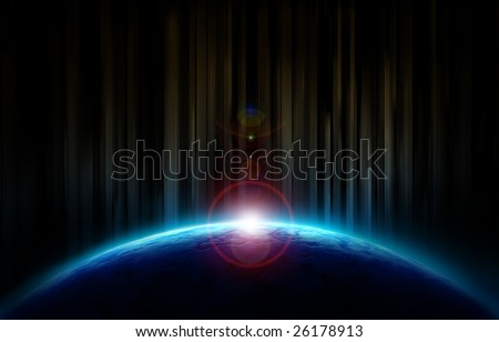 Sun rising up behind the earth - stock photo