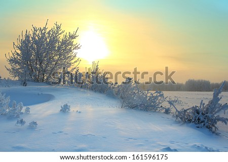 sun rising - winter morning landscape - stock photo