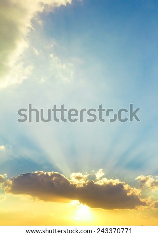 Sun Rocketing to the Sky  - stock photo