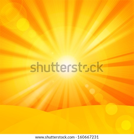 sun,sand,orange yellow rays background