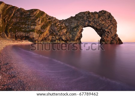 Sun Set at Durdle Door - stock photo