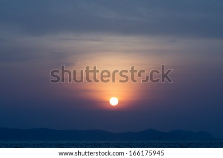 Sun set from Pattaya Thailand - stock photo