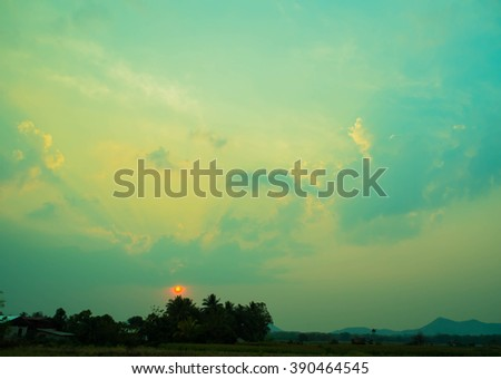 sun set in countryside, Thailand