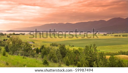 Sun set in the country side of Montana