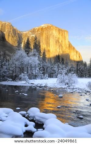 Sun set on the granite peaks in Yosemite valley - stock photo