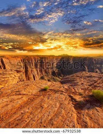 Sun set over Horse shoe bend attraction at Page Arizona - stock photo