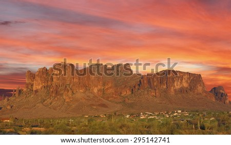 Sun set over mountain in the desert Phoenix, Arizona, USA - stock photo