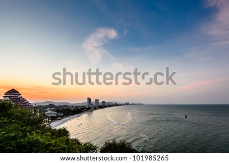 sun set time at Hua-Hin beach in Thailand - stock photo