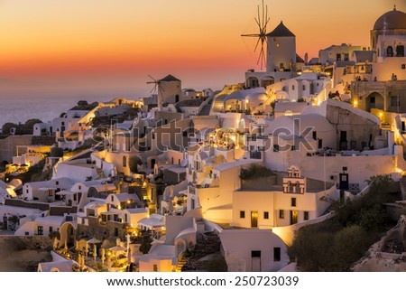 Sun set view from Oia vilage,Santorini island,Greece - stock photo