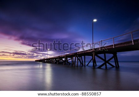 Sun sets over a jetty in South Australia