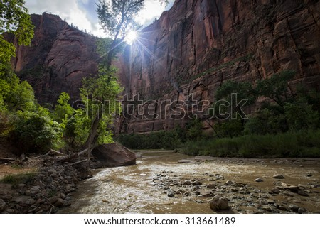 Sun setting behind the rocks in Zion National Park - stock photo