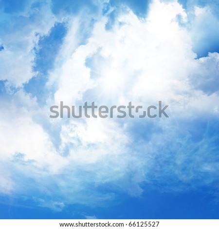 Sun shine, blue sky, peaceful heaven view - stock photo