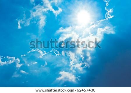 sun shine in blue sky - stock photo