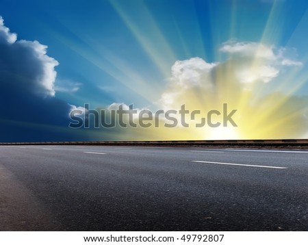 Sun  sky  clouds  road