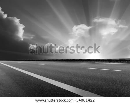 Sun  sky  clouds  road - stock photo