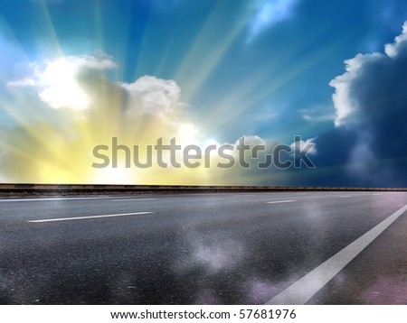 Sun  sky  clouds  road  fog - stock photo