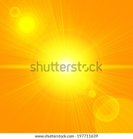 sun sky with orange background