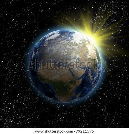 Sun, stars and planet Earth in the space. 3D image. - stock photo