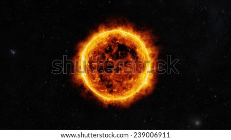 Sun surface with solar flares - stock photo
