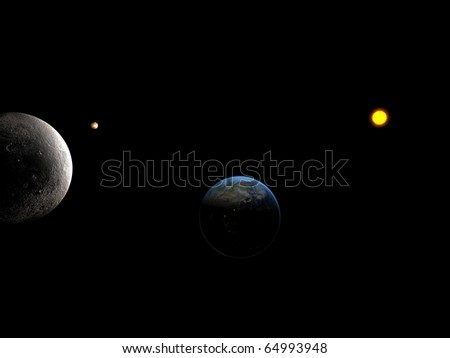Sun system whit close look at moon and Earth - stock photo