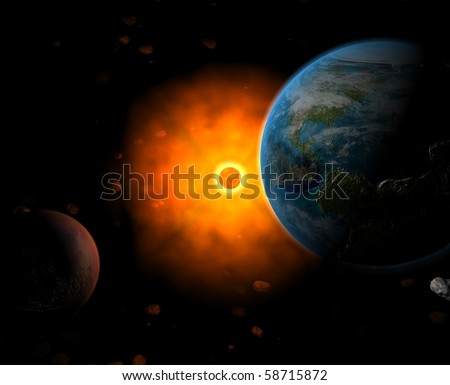 Sun system with Earth, Sun and Mars - stock photo