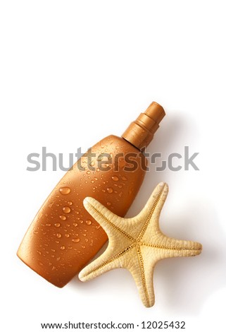 sun tan lotion container isolated on white background - stock photo