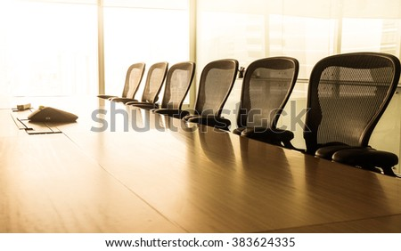 Sun up in the  morning  with business conference room.Light gold images./ For  business grow concept - stock photo