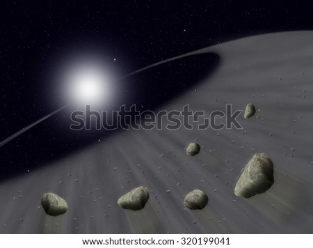 Sun with asteroids in universe or space, Globe and galaxy in a cloud with meteors - stock photo