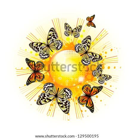 Sun with butterflies. Raster - stock photo