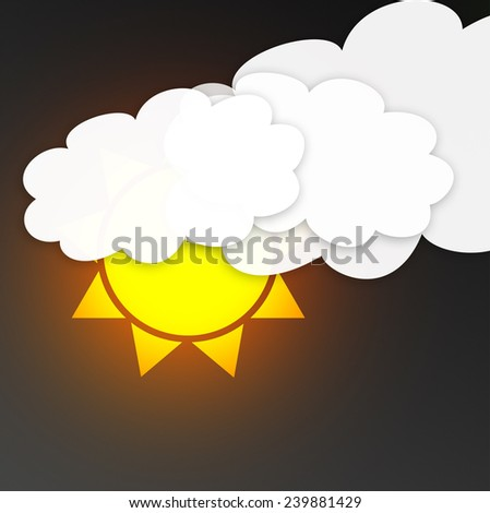 sun with clouds in the dark sky. Weather symbol - stock photo
