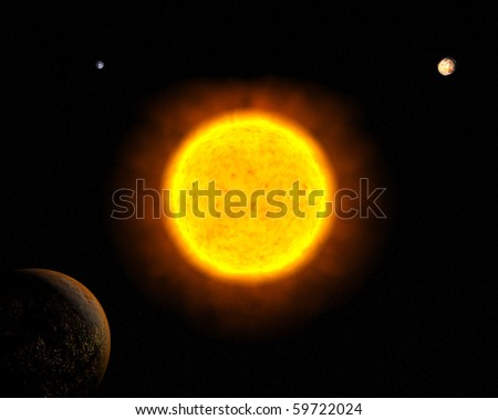 Sun with Mars, Earth and Venus - stock photo