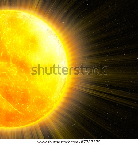 sun with rays in space, an abstract background - stock photo