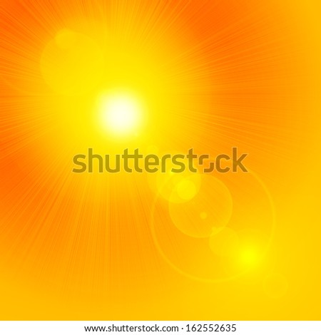 sun ,yellow background with reflection