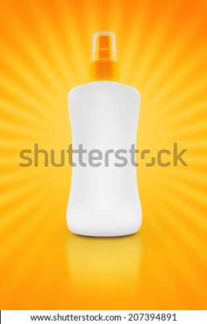 Sunbath oil or sunscreen bottle. Blank plastic bottle with copy space - stock photo