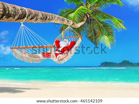 Sunbathing Santa Claus relax in cozy mesh hammock in shadow under coconut palm tree at tropical paradise ocean beach in bright sunny summer day - christmas vacation in hot countries concept