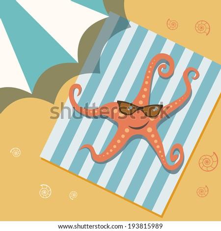 Sunbathing starfish in sunglasses on beach under umbrella. Sea personage in cartoon style. Vintage illustration for print, web - stock photo