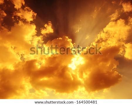 Sunbeam through the haze - stock photo