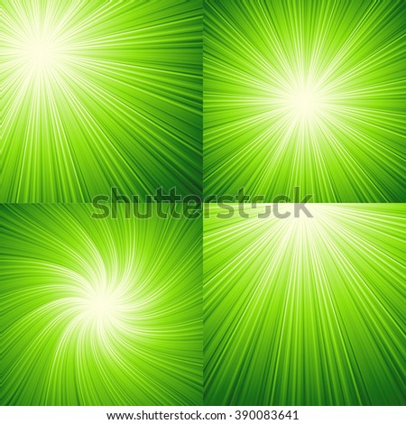 Sunbeams green  abstract background.  - stock photo