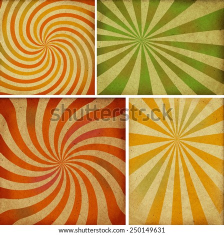 Sunbeams grunge backgrounds, vintage posters. - stock photo